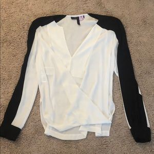 BCBG black and white blouse. Like new!